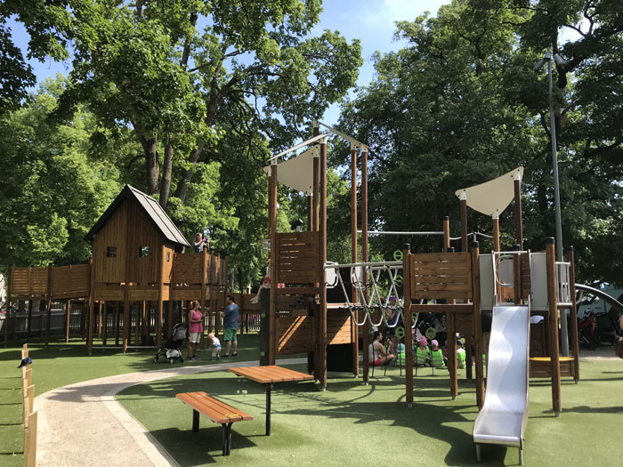 Inclusive playground multi play units in timber
