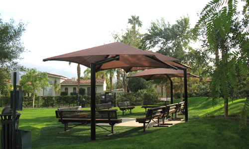 Shade structures for parks and recreational outdoor spaces